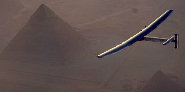 Solar Impulse 2 flies above Giza pyramids earlier this month.