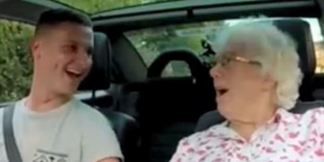 "Grandma Iris Howard is seen reacting to a ""radio broadcaster"" announcing news of her birthday."