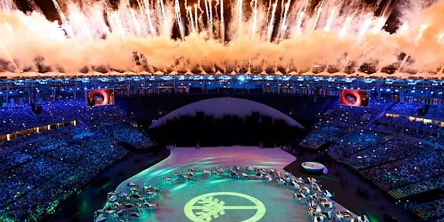 Fireworks explode during the Opening Ceremony.