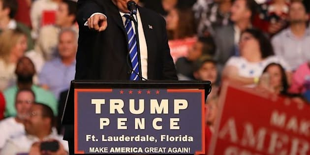 FORT LAUDERDALE, FL - AUGUST 10:  Republican presidential nominee Donald Trump speaks during his campaign event at the BB&T Center on August 10, 2016 in Fort Lauderdale, Florida. Trump continued to campaign for his run for president of the United States.  (Photo by Joe Raedle/Getty Images)