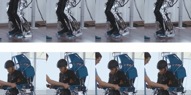 Patient using the exoskeleton.