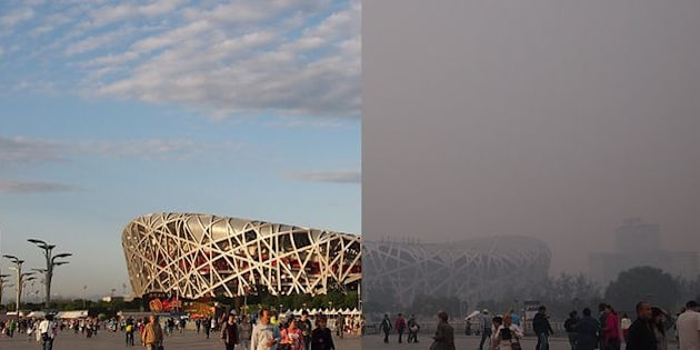 """Beijing's National Stadium, better known as """"the birds nest"""", on a clear and smoggy day."""