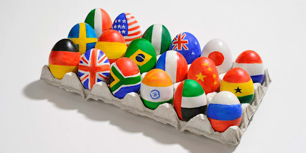 Tray of eggs with world flags painted on them