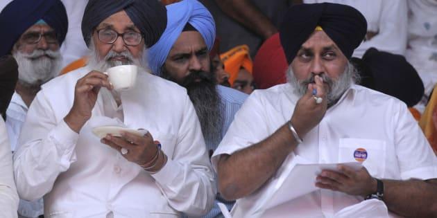 File photo of Punjab Chief Minister Parkash Singh Badal and Deputy Chief Minister Sukhbir Singh Badal.