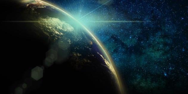 Ilustración de la Tierra al amanecer.