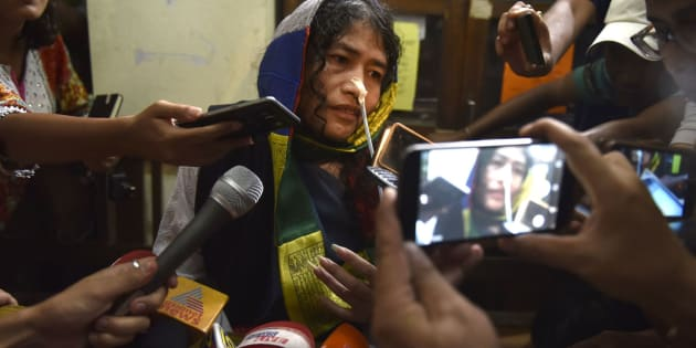 Human rights activist Irom Sharmila addressing a press conference as she was brought to the Cheirap Court on August 9, 2016 in Imphal, India.
