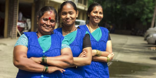 Vidya Bhosale, Parveen Khan, and Pushpa Shingare work at MyDidi, an app that helps domestic workers in Mumbai get better jobs.