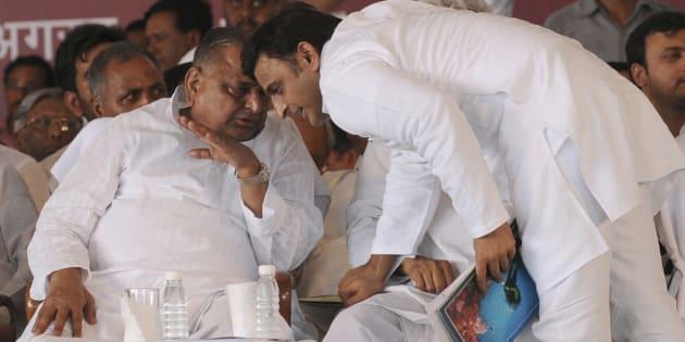 File photo of Uttar Pradesh Chief Minister Akhilesh Yadav and Samajwadi Party president Mulayam Singh Yadav.
