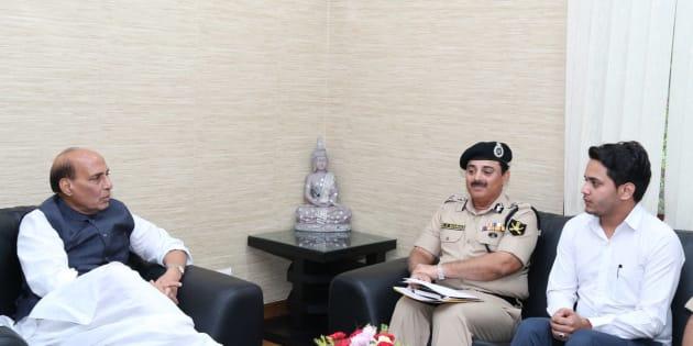 Nabeel Ahmad Wani with Rajnath Singh in Delhi on September 11, 2016.