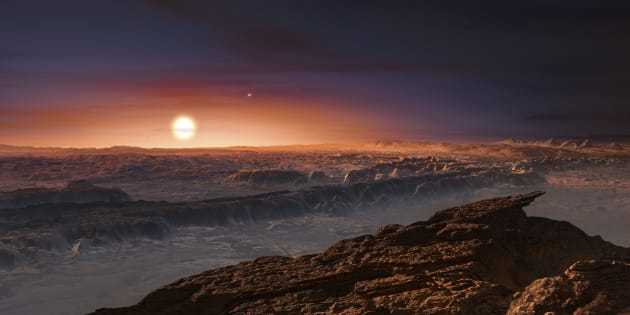 Une vue virtuelle de la surface de l'exoplanète Proxima b.