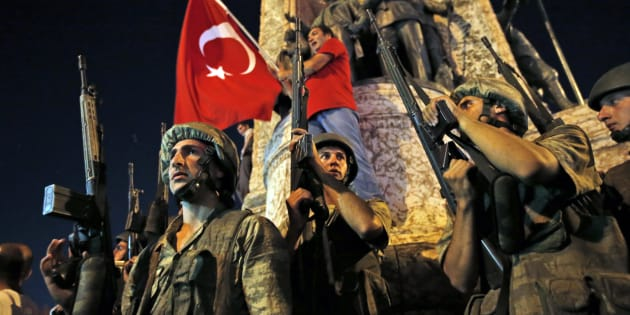 Soldiers have flooded Ankara amid a coup attempt.