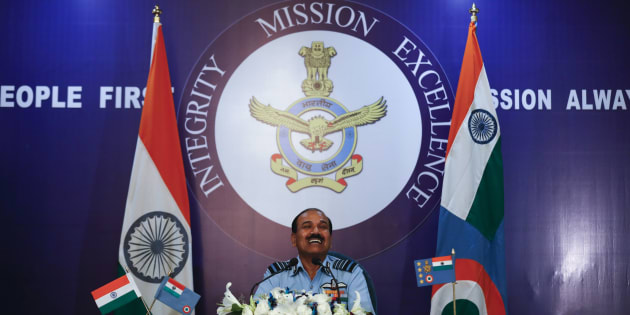 Indian Air Force Chief Air Chief Marshal Arup Raha listens to a question during a press conference in New Delhi, India, Tuesday, Oct. 4, 2016. (AP Photo/Tsering Topgyal)