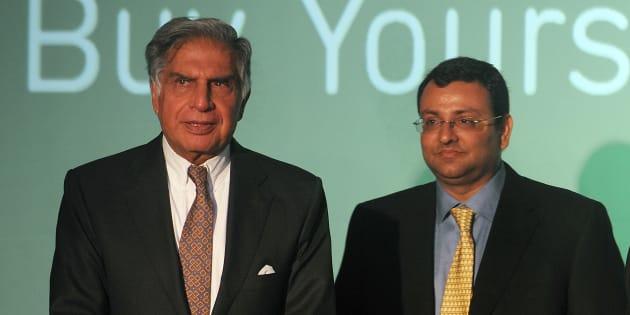 Ratan Tata (L) and  former chairman of Tata Sons, Cyrus Mistry