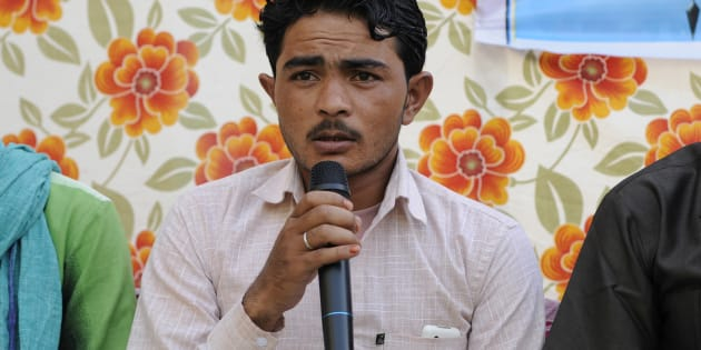 Pehlu Khan's son Irshad speaks during an Iftar get-together at Students Islamic Organisation of India (SIO), on June 7, 2017 in New Delhi.