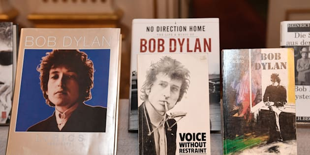 Books by Bob Dylan, who was announced the laureate of the 2016 Nobel Prize in Literature, are displayed at the Swedish Academy in Stockholm, Sweden, on October 13, 2016. JONATHAN NACKSTRAND/AFP/Getty Images.