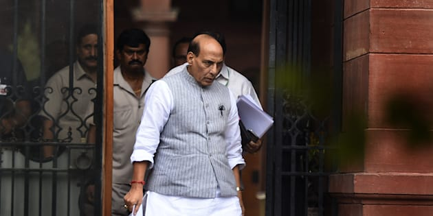 NEW DELHI, INDIA - JULY 13: Union Minister of Home Affairs Rajnath Singh leaves after attending Centre Government Cabinet Meeting at PMO South Block on July 13, 2016 in New Delhi, India. The Union Cabinet, chaired by Prime Minister Narendra Modi, approved the revival of three defunct fertiliser units with a capacity of 1.27 million tonnes per annum each. (Photo by Sonu Mehta/Hindustan Times via Getty Images)