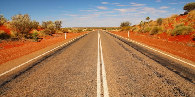Straight highway in Australian outback.