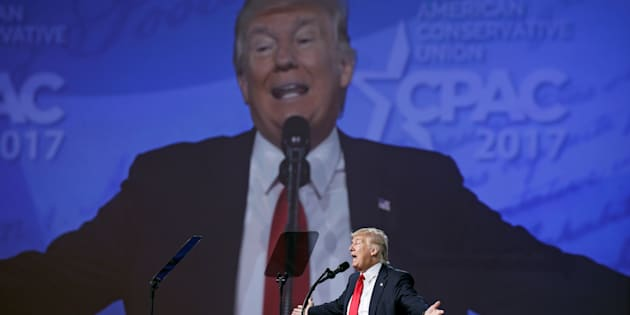 OXON HILL, MD - FEBRUARY 24: President Donald Trump addresses the crowd during CPAC at the Gaylord National Resort & Convention Center on February 24, 2017 in Oxon Hill, Md. (Photo by Ricky Carioti/The Washington Post via Getty Images)