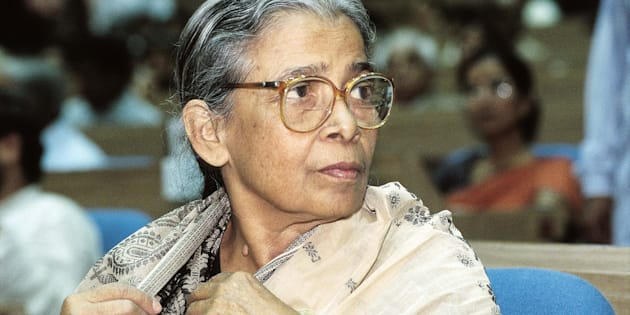 Mahasweta Devi, Writer and Magasaysay Award Winner. (Photo by Dilip Banerjee/The India Today Group/Getty Images)