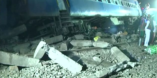 Derailed coaches of a Hirakhand express train from Jagdalpur to Bhubaneswar are seen near Kuneri station, in the state of Andhra Pradesh, outside the town of Rayagada, India, in this still image from video January 22, 2017.
