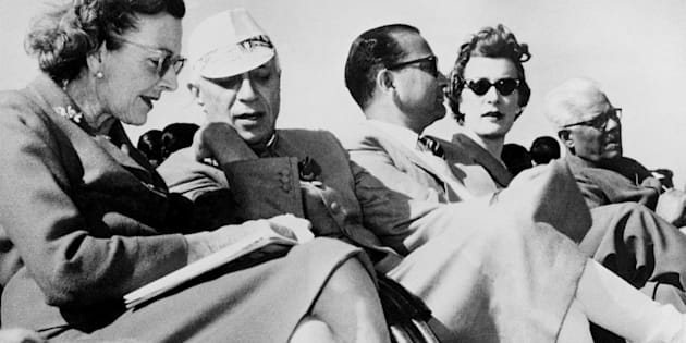 (FILES) In this picture taken 27 February 1959, Pandit Jawaharlal Nehru (2-L) talks with Lady Mountbatten during a display given by the New Delhi Glider Club in New Delhi.