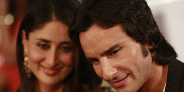 Bollywood actor Saif Ali Khan (R) arrives with actress Kareena Kapoor on the green carpet for the International Indian Film Academy (IIFA) awards in Colombo June 5, 2010.