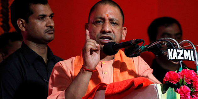 Yogi Adityanath, Chief Minister of India's most populous state of Uttar Pradesh, addresses the audience after inaugurating power projects in Allahabad, India, June 4, 2017.