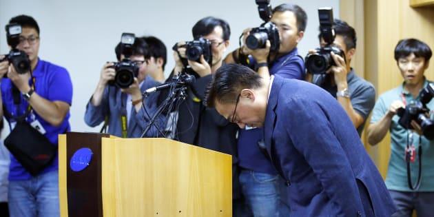 L'arrêt des ventes du Galaxy Note 7 est un coup dur pour Samsung (photo: Dongjin Koh, le nouveau président de Samsung mobile, lors d'une conférence de presse le 2 septembre)