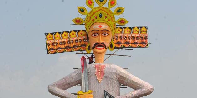 An effigy of Ravana in Indore.  (Photo by Shankar Mourya/Hindustan Times via Getty Images)