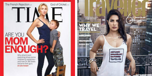 Screenshots of the controversial Time magazine and Conde Nast Traveller covers.