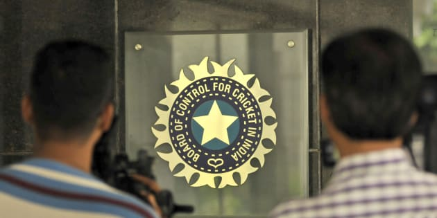MUMBAI, INDIA  JULY 19: A view of logo of the Board of Control for Cricket in India (BCCI) during a Council meeting of the Indian Premier League (IPL) at BCCI headquarters on July 19, 2015 in Mumbai, India. (Photo by Aniruddha Chowhdury/Mint via Getty Images)