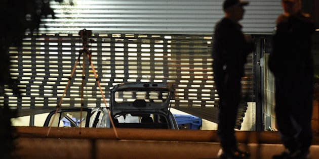 The car, driven into the car park of Merrylands police station.