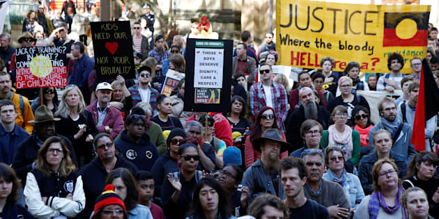 Demonstrators gathered outside Sydney's Town Hall, with rallies also underway in Melbourne, Adelaide, Darwin, Canberra and Perth.