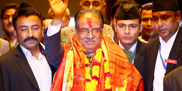 Nepal's newly elected Prime Minister Pushpa Kamal Dahal, also known as Prachanda, waves towards the media in Kathmandu, Nepal, August 3, 2016. REUTERS/Navesh Chitrakar