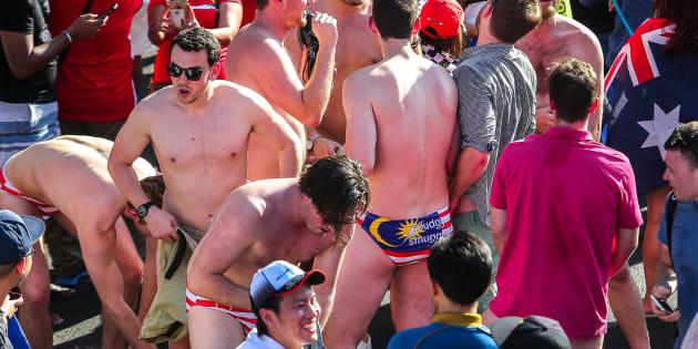 The Australian men stripping down to their flag-emblazoned underwear