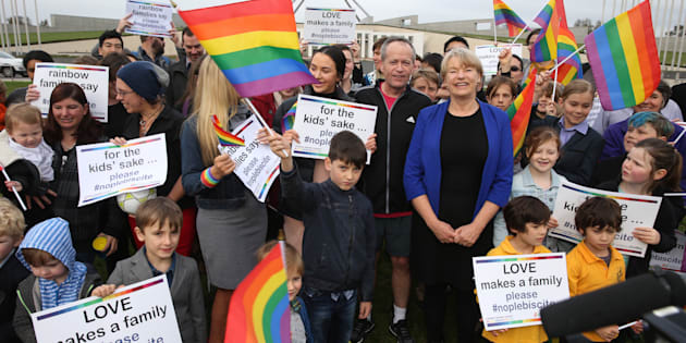 the Rainbow Families group at Parliament House in September, with Opposition Leader Bill Shorten and Greens Senator Janet Rice