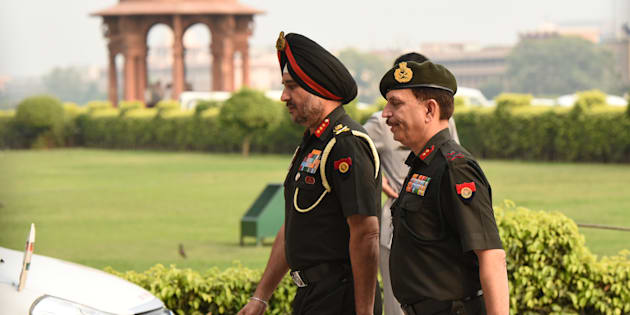 Director General Military Operations (DGMO) Ranbir Singh arrives to attend an all-party meeting, following Indian army's surgical strikes along the LoC on Wednesday night, on September 29, 2016 in New Delhi, India.