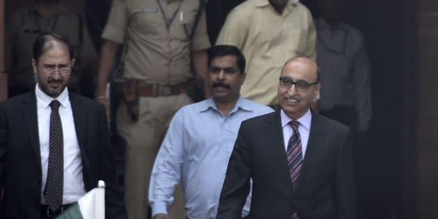 Pakistani Ambassador Abdul Basit leaves Ministry of External Affairs.