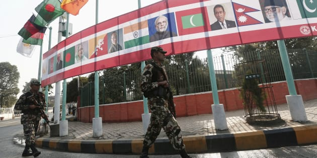 Soldiers patrol outside the venue hosting the opening session of 18th South Asian Association for Regional Cooperation (SAARC) summit in Kathmandu November 26, 2014.