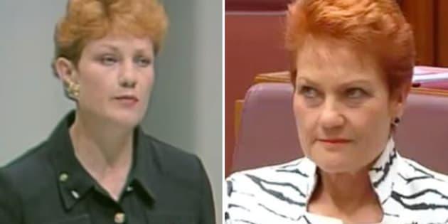 Pauline Hanson, 1996 and 2016.