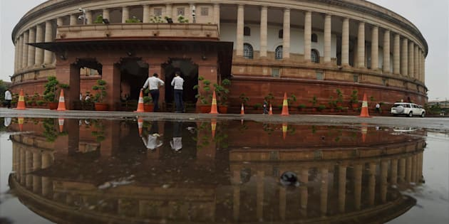 The Parliament house after heavy shower in New Delhi on Monday.