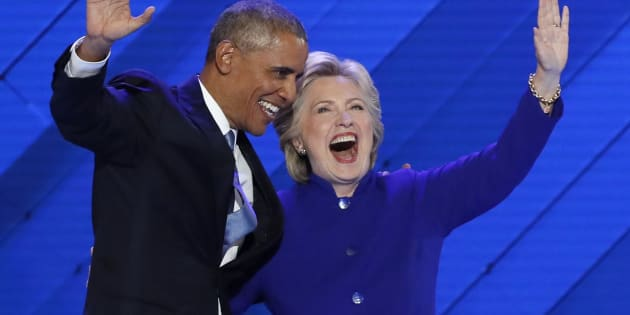 U.S. President Barack Obama and Democratic presidential nominee Hillary Clinton appear onstage together after his speech at the Democratic National Convention, July 27, 2016.