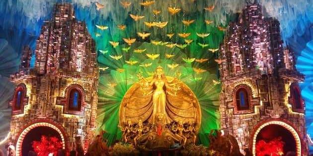 Gouranga Kuila's pavilion art for a puja in Kolkata