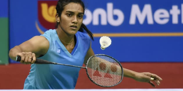 Indian shuttler PV Sindhu in action against Busnan Ongvumrungphan of Thailand during the India Open Badminton Pre-Quarter final.