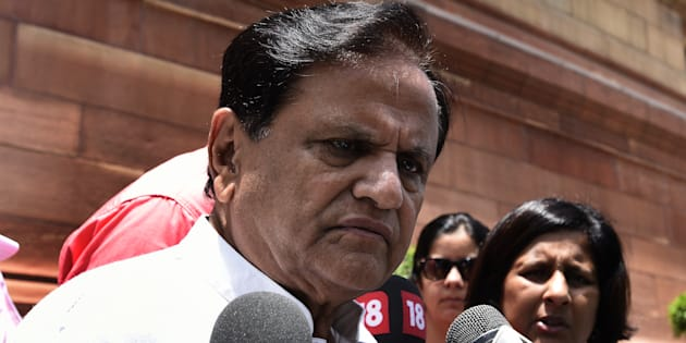 Congress Rajya Sabha MP Ahmed Patel talking to media person on the issue of attacks on Dalits in Gujarat's Una.