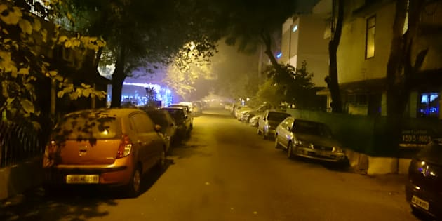 A late night shot on Diwali of air pollution in Delhi at near fatal levels