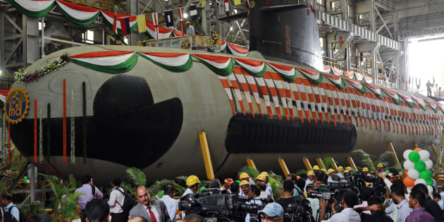 File photo of the Indian Navy's first indigenously-built Scorpene attack submarine at Mazagon Dock in Mumbai, India, on 6 April, 2015.