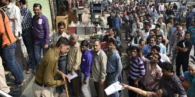 Long queue in front of the Oriental Bank of Commerce near Mahila Colony  Gandhi Nagar east Delhi for new currency  on November 10, 2016 in New Delhi, India.