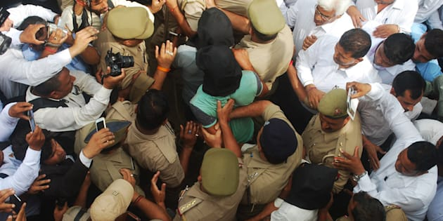 Three persons were arrested by police in highway robbery and gang rape case produced at Bulandshahr court on August 1, 2016 in Bulandshahr.