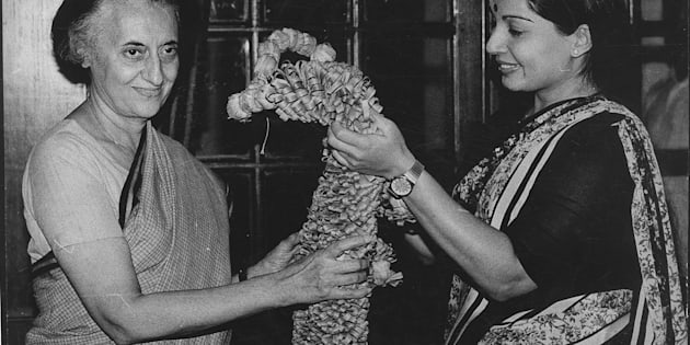 AIADMK Leader Jayalalithaa the newly elected Rajya Sabha Member with the Prime Minister  Indira Gandhi on April 21, 1984 in New Delhi, India.